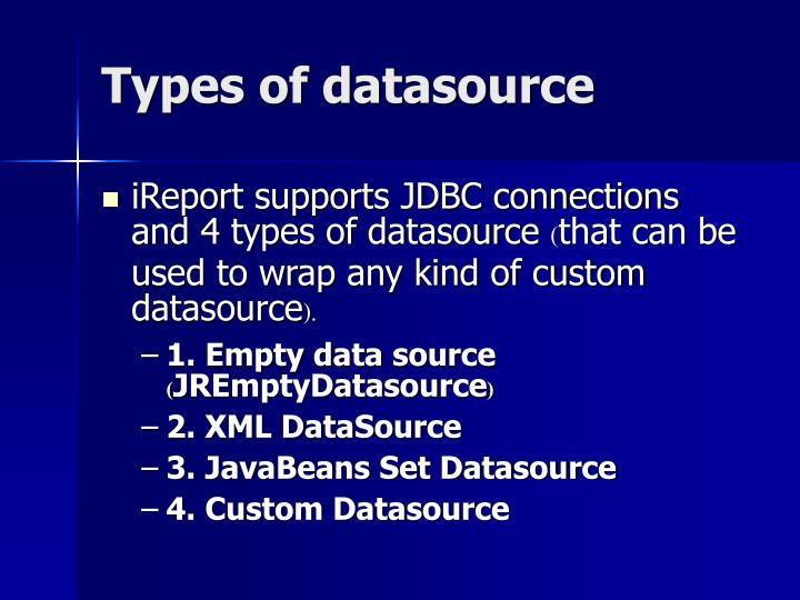 Types of datasource