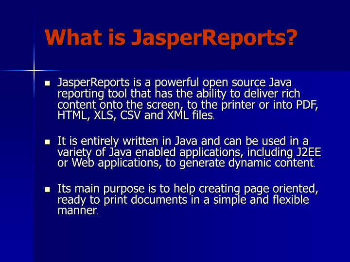 What is jasperreports