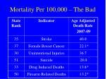 mortality per 100 000 the bad