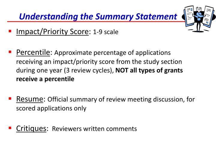 Understanding the Summary Statement