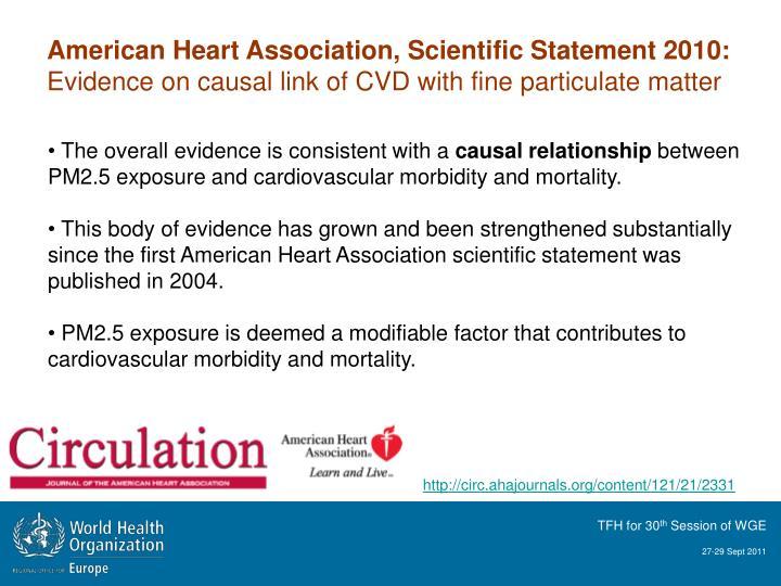 American Heart Association, Scientific Statement 2010:
