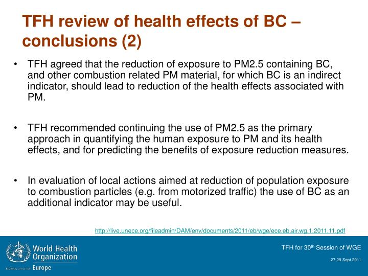 TFH review of health effects of BC –conclusions (2)