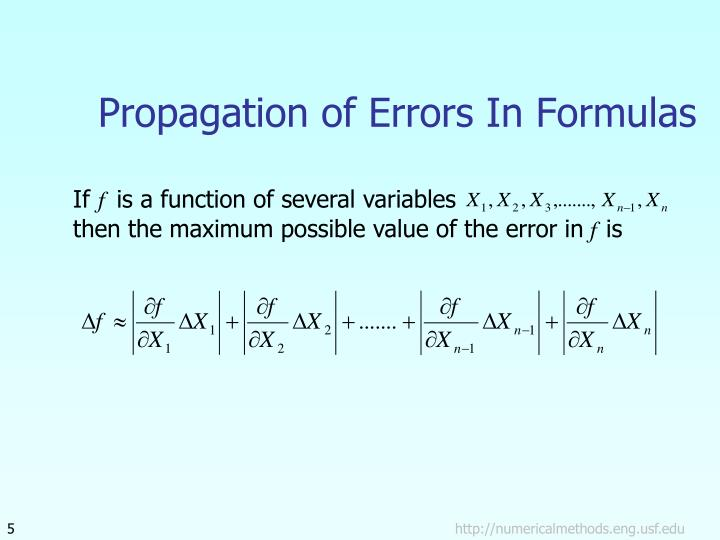Propagation of Errors In Formulas