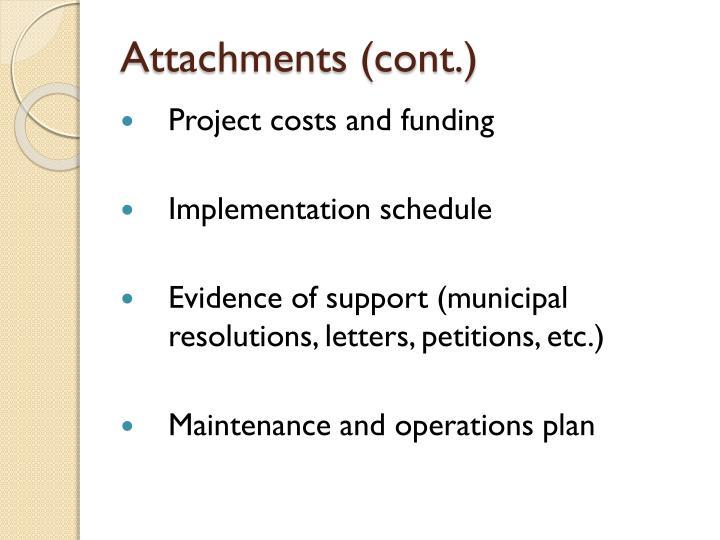 Attachments (cont.)