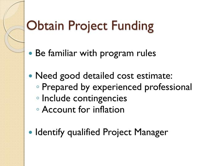 Obtain Project Funding