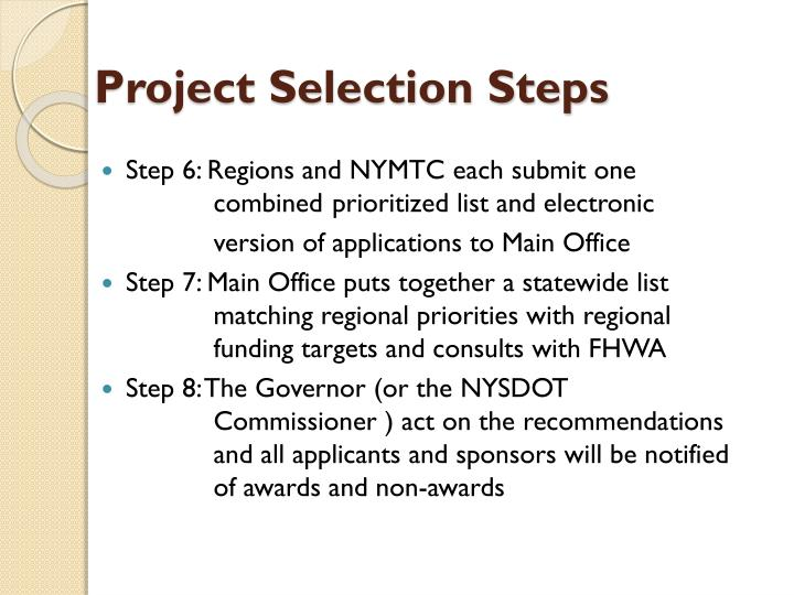 Project Selection Steps
