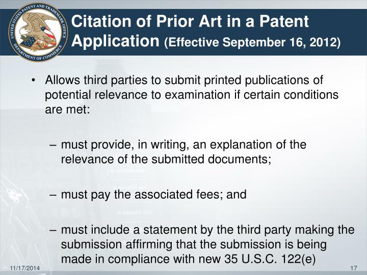 Citation of Prior Art in a Patent