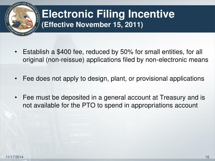 Electronic Filing Incentive