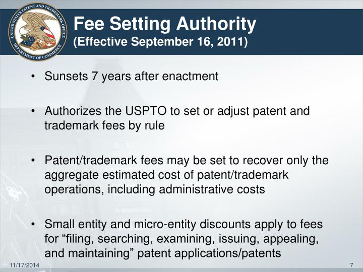 Fee Setting Authority