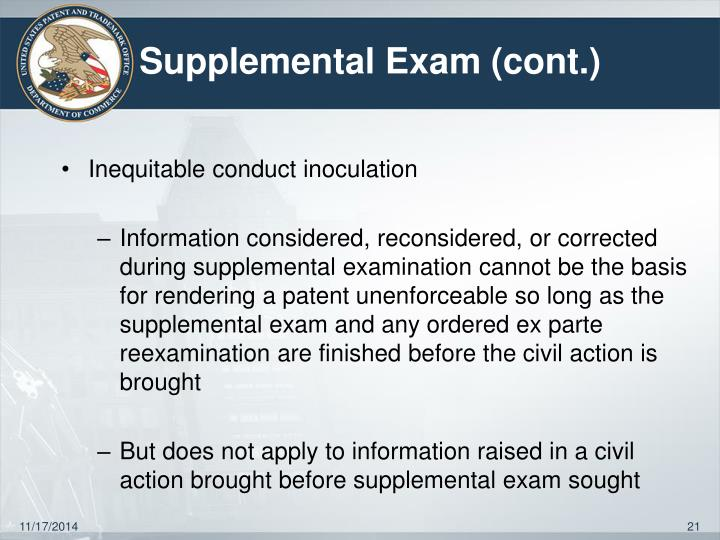 Supplemental Exam (cont.)