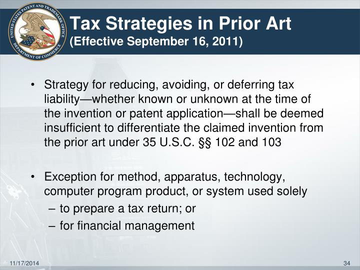 Tax Strategies in Prior Art