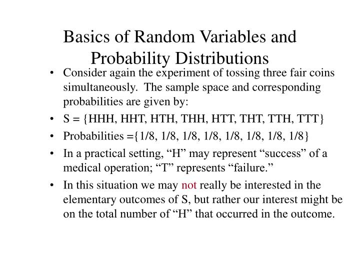 Basics of random variables and probability distributions