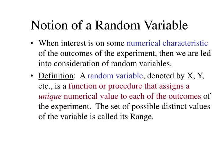 Notion of a random variable