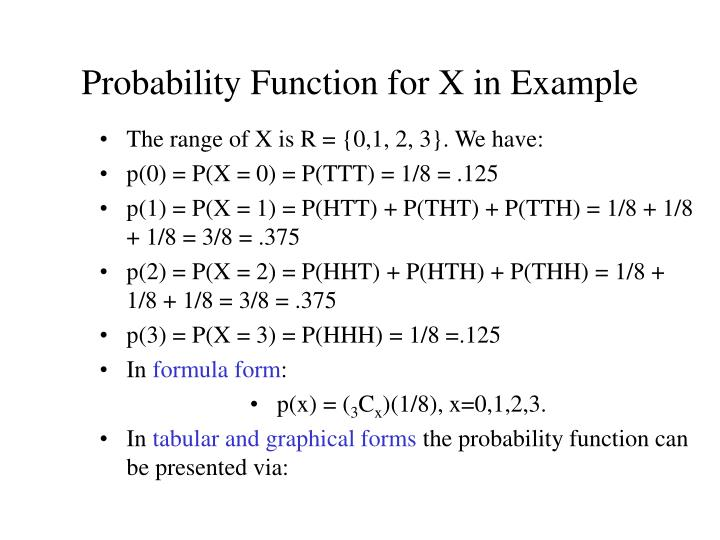 Probability Function for X in Example
