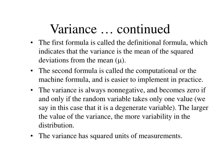 Variance … continued