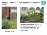 islington adapting to high temperatures reduced rainfall