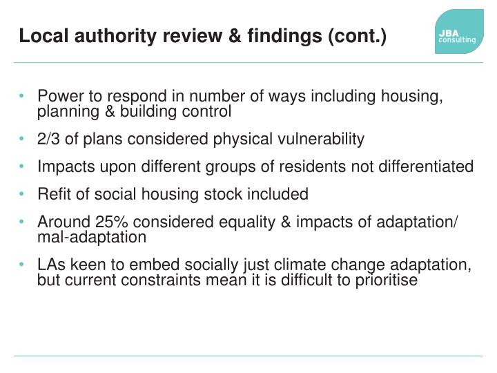 Local authority review & findings (cont.)