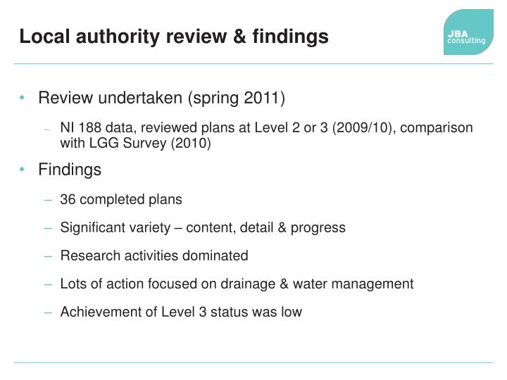 Local authority review & findings
