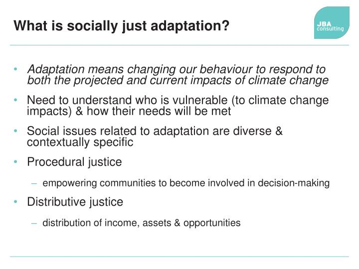 What is socially just adaptation?