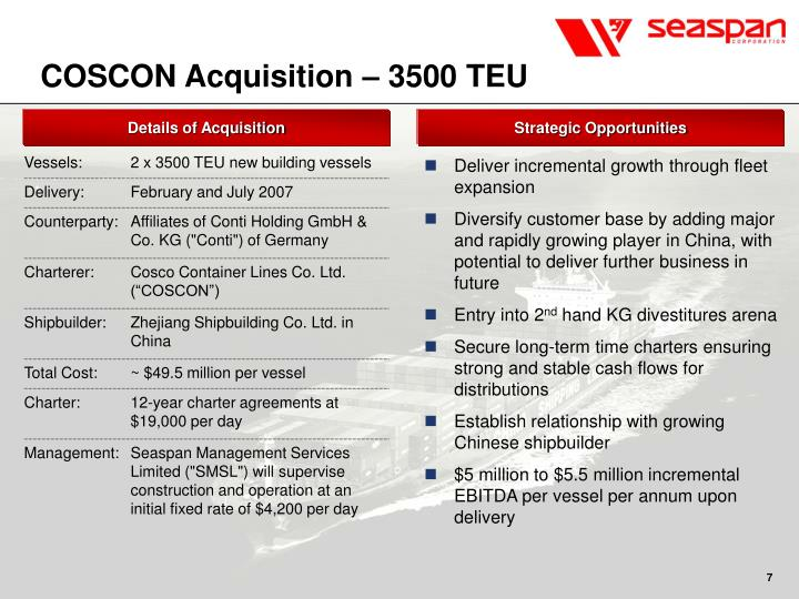 COSCON Acquisition – 3500 TEU