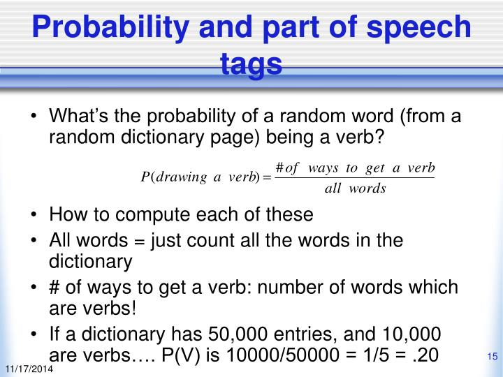Probability and part of speech tags