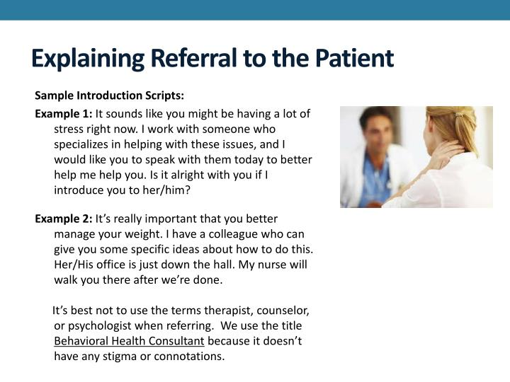 Explaining Referral to the Patient