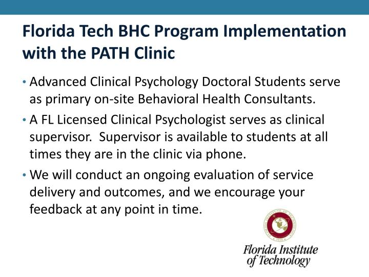 Florida Tech BHC Program Implementation with the PATH Clinic