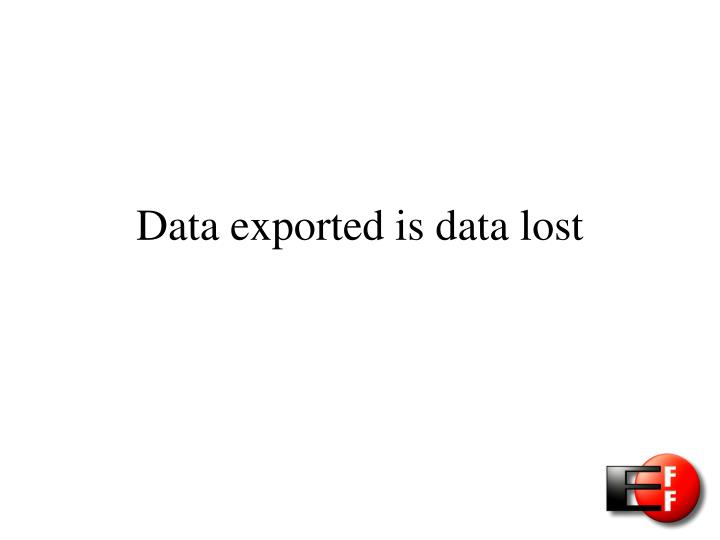 Data exported is data lost