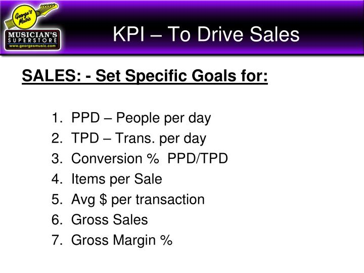 KPI – To Drive Sales