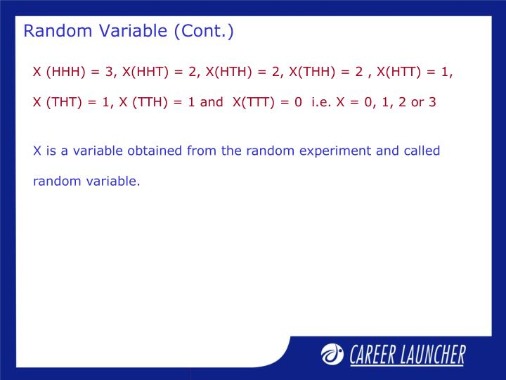 Random Variable (Cont.)