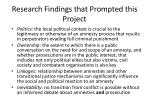 research findings that prompted this project