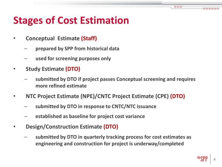 Stages of Cost Estimation