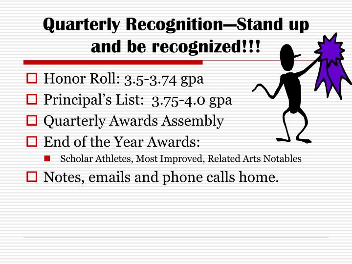 Quarterly Recognition—Stand up and be recognized!!!