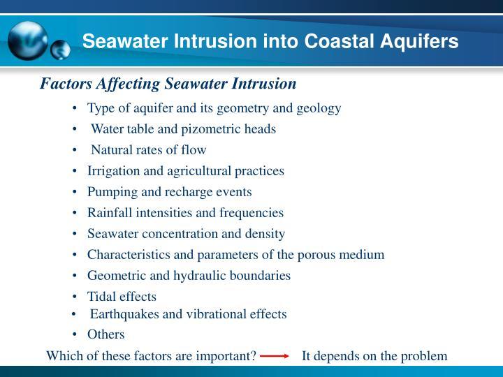 Seawater Intrusion into Coastal Aquifers