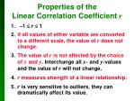 properties of the linear correlation coefficient r