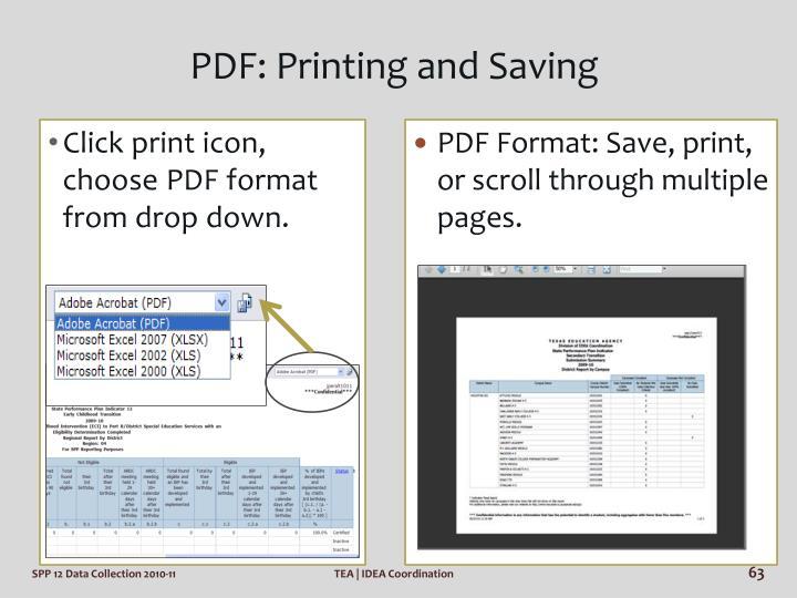 PDF: Printing and Saving