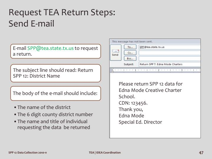 Request TEA Return Steps: