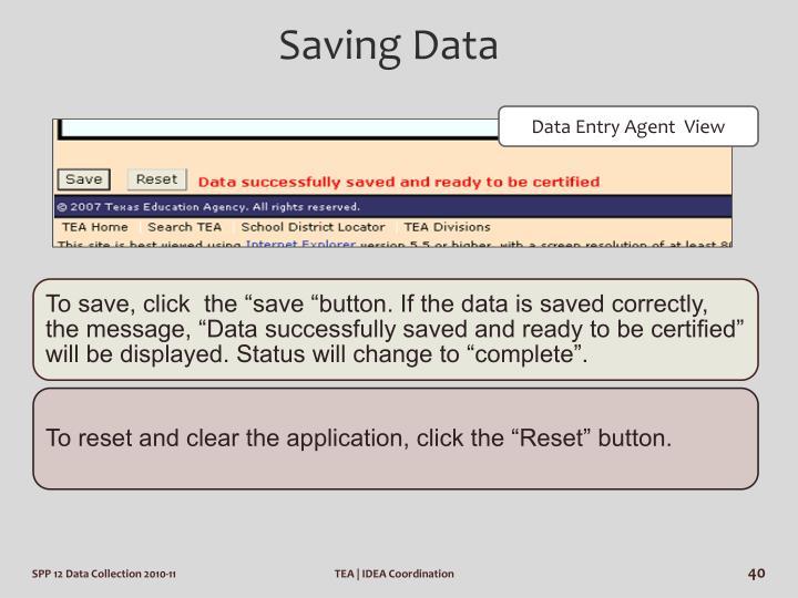 Saving Data