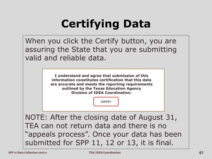 Certifying Data