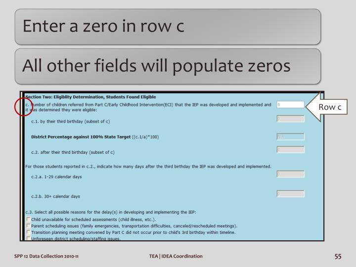 Enter a zero in row c