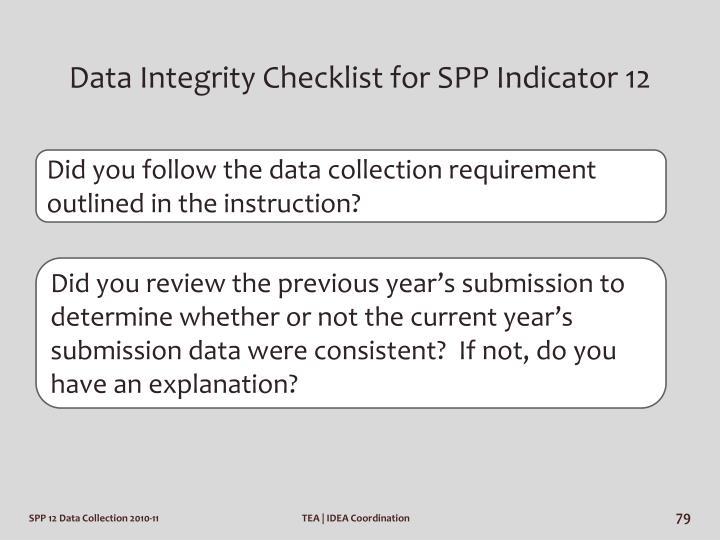 Data Integrity Checklist for SPP Indicator 12