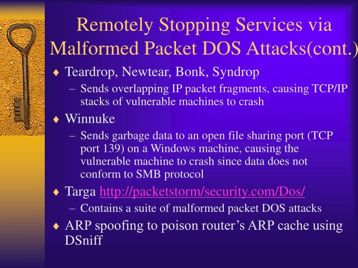 Remotely Stopping Services via Malformed Packet DOS Attacks(cont.)