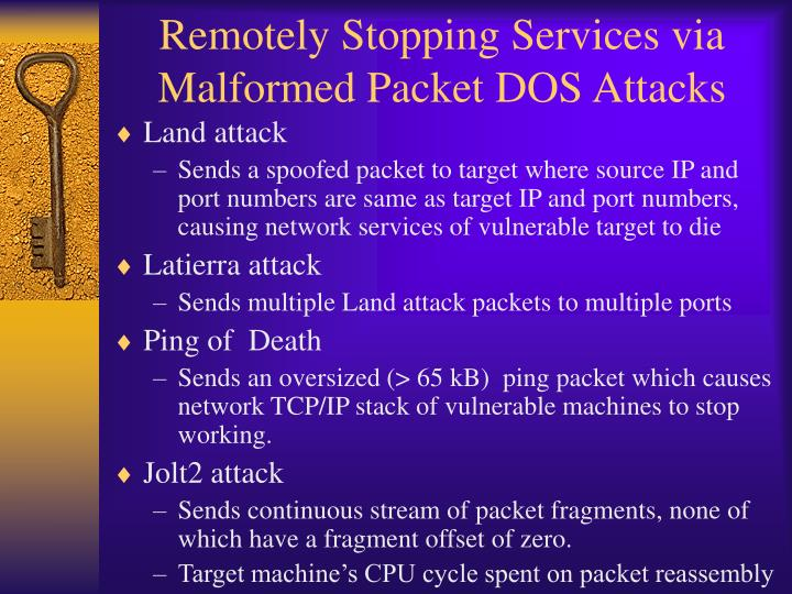 Remotely Stopping Services via Malformed Packet DOS Attacks
