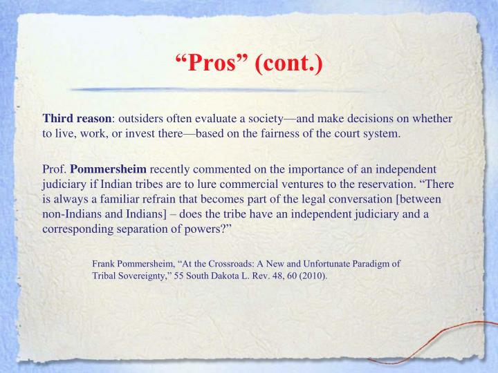 """Pros"" (cont.)"