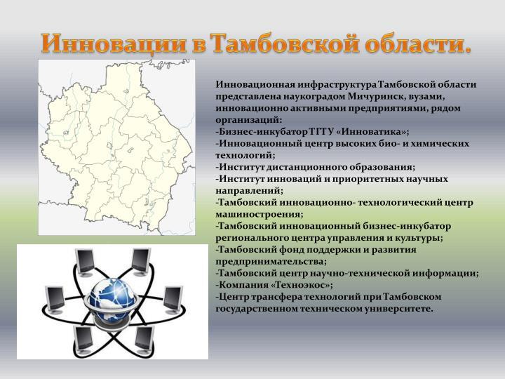 Инновации в Тамбовской области.