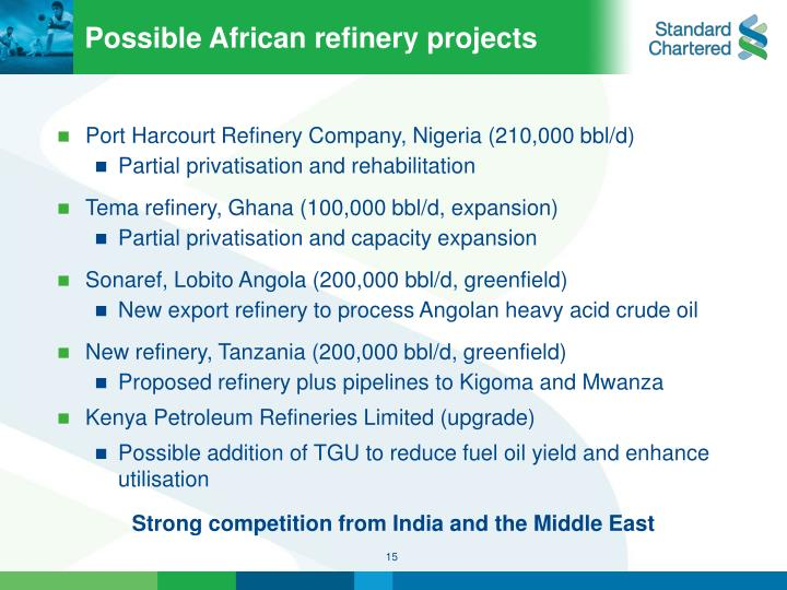 Possible African refinery projects
