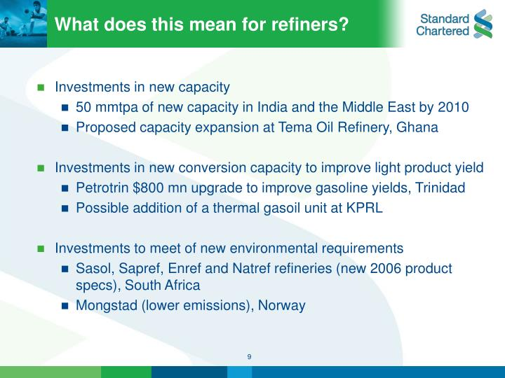 What does this mean for refiners?