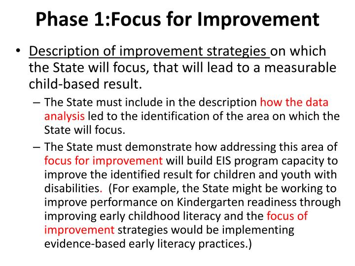 Phase 1:Focus for Improvement