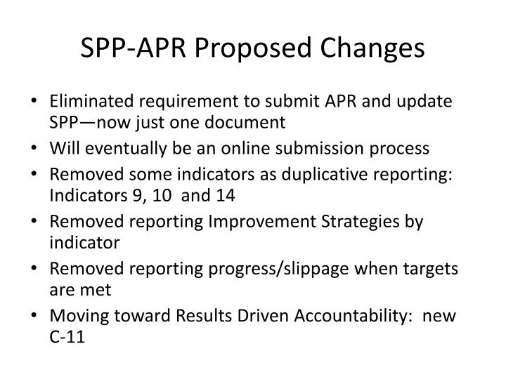 Spp apr proposed changes
