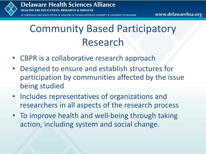 Community Based Participatory Research
